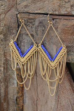 Blue & Gold Chandelier Earrings, $14