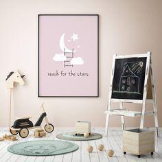 Moon and Star, Stars, Pink Nursery Decor, Moon Prints, Stars Decor Print, New Baby, Modern Wall Art, Baby Girl, Baby Art, Ispirational Quote by MyFreshLemonade on Etsy https://www.etsy.com/listing/522787160/moon-and-star-stars-pink-nursery-decor