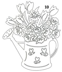 watering can flowers embroidery ile ilgili görsel sonucu Kirigami, Paper Cutting Patterns, Wood Carving Patterns, How To Make Paper, Crafts To Make, Paper Pot, Disney Cartoon Characters, Intarsia Woodworking, Paper Stars