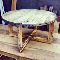 Round wooden coffee table. Made from wooden by Urbanbuilds on Etsy, $450.00