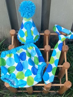 Personalized baby boy smash the cake outfit/ photo outfit/first birthday set in giant blue, lime, and aqua dots