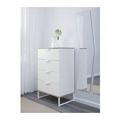 IKEA - TRYSIL, Byrå med 4 lådor, , Ditt hem ska självklart vara en säker plats för hela familjen. Därför medföljer ett väggbeslag som gör att du kan fästa byrån i väggen.Lådorna som är lätta att öppna och stänga har utdragsstopp.Höga ben underlättar städning.