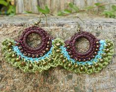 Brass Bells Dangle Hippie Earrings Boho Style Tribal Jewelry Crocheted Hoops with Beads Wax Cotton in Brown Green ER8