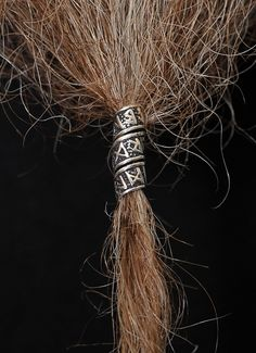 Grimfrost - Beard/Hair Bead, Silver with Runes: A slightly longer bead in Sterling Silver 925 that is covered with runes.