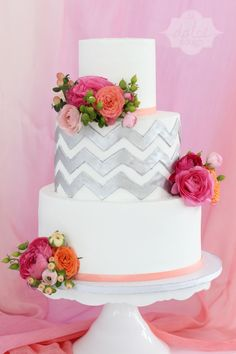 Chevron Silver and Coral Bridal Shower Cake - La Dolce Dough, Sylvania Ohio