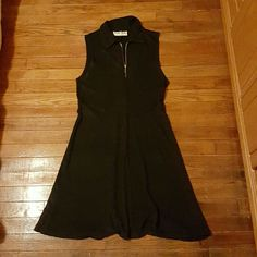 Black Zip Up With Collar. A Line Dress.