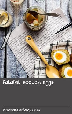 Falafel scotch eggs | One of my chefs came to me with an idea for falafel scotch eggs and I loved it so much it's going on the menu. This Middle Eastern, vegetarian twist on an old English classic makes perfect picnic food as they're just as good eaten at room temperature as they are warm. Serve with mayo, tzatziki or pickles.