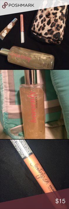 Lip Gloss and Shimmer Mist (Victoria's Secret) Heavenly Shimmer Mist, Beauty Rush Colorshine Gloss, (Bath and Body Works) Liplicious Marshmallow Creme Gloss. *BONUS* bag included ✨ Victoria's Secret Makeup Lip Balm & Gloss