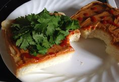 Siracha WOWBUTTER on Toast with Cilantro by Frugal Allergy Mom
