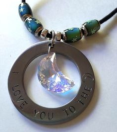 Statement Necklace: I love you to the moon w/Swarovski Crystal Prism by @justByou, $20.00  #handmade #shopjustByou #necklace #love #gift