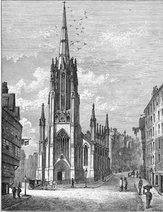 Engraving from 'Old & New Edinburgh'  -  Assembly Hall