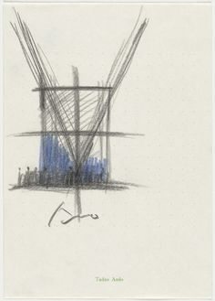 """Tadao Ando. Church of the Light, Ibaraki, Osaka, Japan, Interior perspective. 1989. Color pencil (blue and black) on note paper. 10 1/8 x 7 1/8"""" (25.7 x 18.1 cm). Gift of the architect in honor of Philip Johnson. 347.1996. Architecture and Design"""