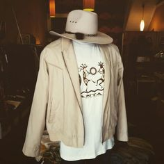 Vintage pale akubra tassled hat, New Mexico white tee, and vintage sand light weight jacket Vintage Clothing, Vintage Outfits, Men's Vintage, Vintage Jacket, White Tees, Cowboy Hats, Tassel, Mexico, Men Casual