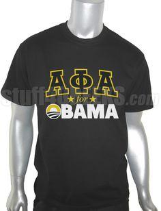 ALPHA PHI ALPHA FOR OBAMA T-SHIRT, BLACK  Item Id: PRE-ST-AFA-FOR-OBAMA-BLK-ST    Price: $39.00