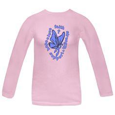 Stomach Cancer Hope Love Faith Butterfly Women's Pink Long Sleeve T-Shirt | Awareness Ribbon Shirts at Gifts4Awareness.Com