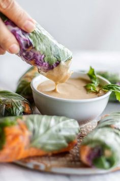 """Thai Spring Rolls / This healthy chicken spring roll recipe is served with a """"peanut sauce"""" made with almond butter. Fresh spring rolls are easy to make with the tutorial in this post! 