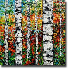 Image of Birch Tree Art Original OIl Painting on Canvas Birch Tree Painting B. Sasik BOP34