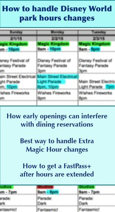 How to handle park hours changes at Disney World