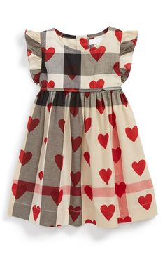 Burberry Burberry 'Amanda' Check & Heart Print Cotton Voile Dress (Baby Girls) available at Cute Outfits For Kids, Baby Outfits, Little Dresses, Little Girl Dresses, Girls Dresses, Little Girl Fashion, Kids Fashion, Fashion Clothes, Creation Couture