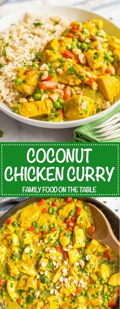 This quick and easy coconut chicken curry features colorful veggies and coconut milk for a creamy curry that's packed with flavor. Pair with brown rice or cauliflower rice for a fast weeknight dinner! #chickencurry #easychickenrecipe #quickchickenrecipe   www.familyfoodonthetable.com