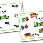 A set of useful display signs, featuring the word hello in a number of different languages. ...