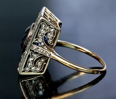 Unusual Antique 5 Ct Sapphire Diamond Ring - Antique Jewelry | Vintage Rings | Faberge Eggs