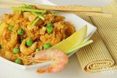 Fried Rice, Shrimp, Fries, Meat, Ethnic Recipes, Food, Essen, Meals, Nasi Goreng