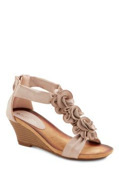 Aromatic Bouquet Sandal - Mid, Tan, Solid, Flower, Wedding, Daytime Party, Bridesmaid, Bride, Better, Wedge, Variation, Statement