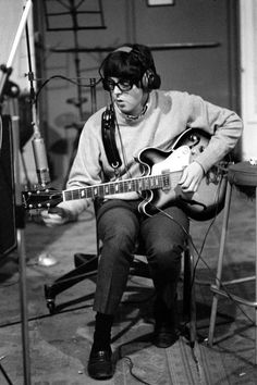 "The Beatles - Paul McCartney during a recording session for the album ""Revolver"""