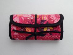 Crochet Hook Case Red Black Flower White Flower Pattern Quilted Bag by RoxannasBags on Etsy
