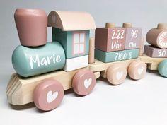 Little Dutch 4416 Wooden Railroad Locomotive Train with Socket .- Little Dutch 4416 Holz-Eisenbahn Lokomotive Zug mit Steckformen Adventure Pink Rosa Baby Shower Gift Basket, Baby Shower Gifts, Forma Adventure, Baby Crafts, Diy And Crafts, Baby Bike, Wooden Train, Wood Toys, Personalized Products