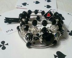 """bracelet fil mémoire noir """"Black Jack"""" : Bracelet par bijoux-delf13"""