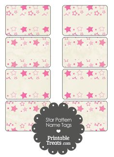 Vintage Pink Star Pattern Name Tags from PrintableTreats.com