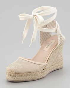 $500! idea for shoes for me to wear for Jess's wedding? Only more nude/goldish, less ivory! Lace-Covered Espadrille Wedge, Nude by Valentino at Neiman Marcus.