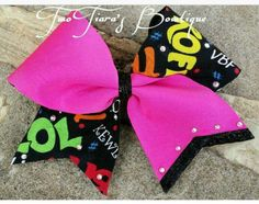 Do you love to text?  Here is a texting words neon pink tick tock cheer bow with swarvoski crystals!  Cheer and team bows by Two Tiara's Bowtique on Etsy or Facebook!  All-star, camp, team gifts Check out this item in my Etsy shop https://www.etsy.com/listing/219905245/texting-words-neon-pink-tick-tock-cheer