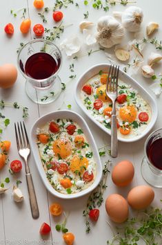 Baked Eggs with Tomato, Goat Cheese and Thyme - food photography by Paul S. Bartholomew. Styling by Andrea Bartholomew.