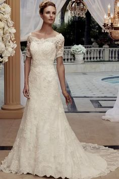 modest lace wedding dresses 3/4 sleeves Naf Dresses