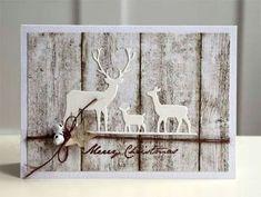 Wow Absolutely stunning card using Deer Trio die from Memory Box with woodgrain pattern paper Blütenstempel Leise rieselt der Schnee Homemade Christmas Cards, Christmas Cards To Make, Christmas Deer, Xmas Cards, Diy Cards, Handmade Christmas, Homemade Cards, Holiday Cards, Christmas Crafts