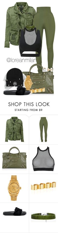 """first day of class."" by loreanmilan ❤ liked on Polyvore featuring Superdry, Balmain, Balenciaga, Dsquared2, Rolex, Maison Margiela, Puma and Boohoo"