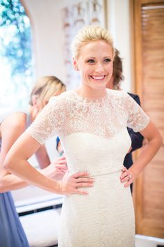Sheer embroidered lace short sleeve wedding dress: http://www.stylemepretty.com/2016/02/23/trend-short-sleeve-wedding-dresses/