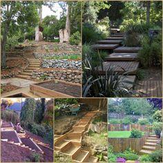garten am hang steingarten treppen aus holz | garden walls, paths, Garten ideen