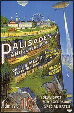 vintage advertising art poster for the Palisades amusement park in New Jersey