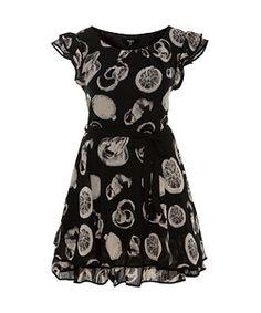 Black Pattern (Black) Koko Black Citrus Fruit Print Chiffon Layer Dress | 279797509 | New Look