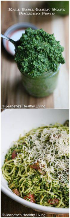 Kale Basil Garlic Scape Pistachio Pesto © Jeanette's Healthy Living #farmersmarket #csa #summer #recipe