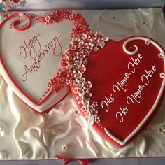 Write your name on anniversary red color heart shape cake. Anniversary cake for brother and sister write your own message.couple name on cake for anniversary wishes. Happy anniversary special cake with your name write on cake and send your brother sister or any family member. marriage anniversary wishes cake picture with your name.celebrate and wish wedding anniversary with write name on cake and send beautiful anniversary cake.
