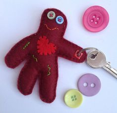 This item is unavailable Button Eyes, Heart Button, Felt Keyring, Hanging Out, Hand Sewing, Applique, Child Friendly, Split Ring, Shapes