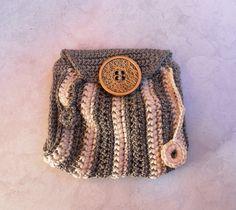 Monedero llavero, mini CHIC de color gris y marfil, moneda monedero, bolsa pequeña para dinero, monedero, tarjetero, ganchillo mini bolso, bolso gris, bolsa