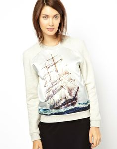 Emma Cook Ship Print Sweater with Satin Front