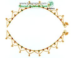 22K Gold Anklets with Rubies & Emeralds - 1 Pair