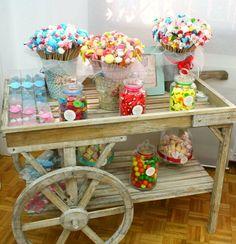 Precioso carrito de caramelos para fiestas cumplea os for O kitchen mira mesa